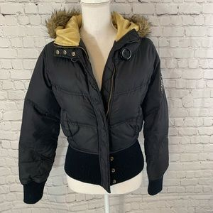 DKNY Active Black Puffer Coat fitted